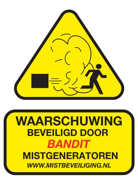 waarschuwingssticker mistbeveiliging mistmachine BANDIT